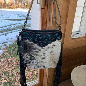 Hand Tooled Fringe, Leather & Cowhide Bag